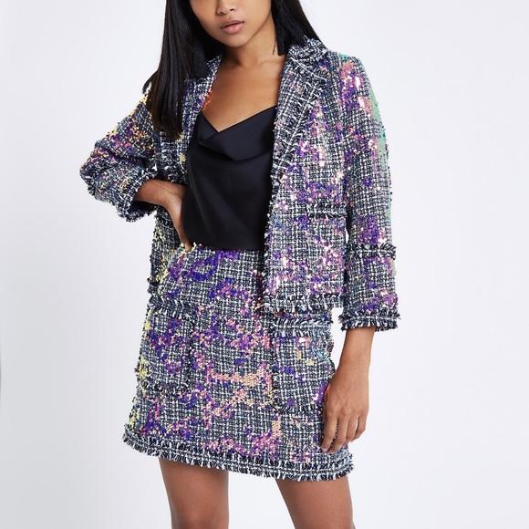 7b34525c77f07 Petite Sequin Tweed Jacket and Mini Skirt Set